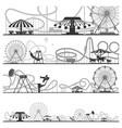set of horizontal amusement park silhouettes vector image