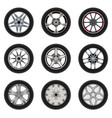 set of car wheels with a different design vector image