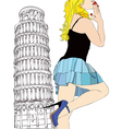A big kiss from Pisa vector image vector image