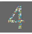 Four number social network with media icons vector image