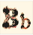 Fiery font Letter B on white vector image