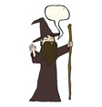 cartoon old wizard with speech bubble vector image