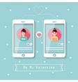 online dating via social network vector image