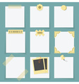 Small little attached blank paper notes set vector image