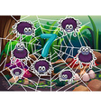 Number 7 with seven spiders on web vector image