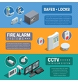 Home Security System Isometric Banners Set vector image
