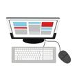 Desk computer topview icon vector image