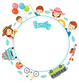 Family Vacation Objects on Round Frame vector image