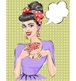 Pop Art woman with morning cup of tea vector image