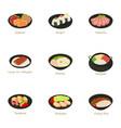 sushi menu icons set cartoon style vector image