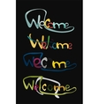 Welcome word drawn lettering typographic element vector image