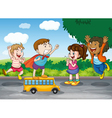 kids and toy bus vector image vector image