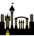 ancient gothic castle black silhouette vector image