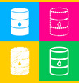 oil barrel sign four styles of icon on four color vector image