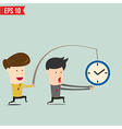 Cartoon Business man trying to reach a clock - vector image