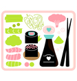 Sushi Bento box set isolated on white vector image vector image