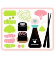 Sushi Bento box set isolated on white vector image
