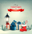 Holiday Christmas background with gift boxes and a vector image vector image