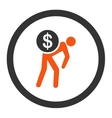 Money courier flat orange and gray colors rounded vector image