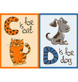 Children Alphabet with Funny Animals Cat and Dog vector image