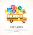 School bus with color speech bubbles vector image