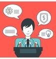Businessman giving speech vector image vector image