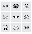 black cartoon eyes icons set vector image