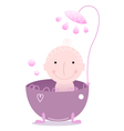 Cute beautiful baby under Shower isolated on white vector image