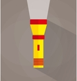 Icon of yellow flashlight vector image