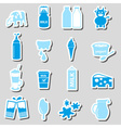 milk and milk product theme stickers set eps10 vector image