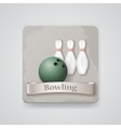 Skittles and ball for bowling game icon vector image