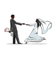 Happy bride and groom joining hands vector image vector image
