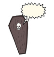 spooky cartoon coffin with speech bubble vector image