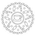 Coloring Simple Candies Mandala vector image