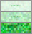Green square mosaic pattern banner background set vector image