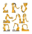 Set of robotic arms hands robot icons set vector image