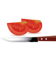 tomato slices and kitchen knife vector image