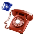 Brown and blue vintage telephone with disk vector image