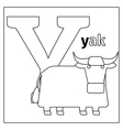 Yak letter Y coloring page vector image vector image