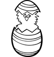 chicken in easter egg cartoon for coloring vector image