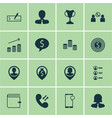 set of 16 human resources icons includes phone vector image