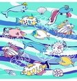 Blue background with waves and different fishes vector image vector image