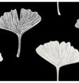 Ginkgo seamless interior wallpaper black white vector image vector image
