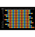 Black linear calendar 2015 vector image
