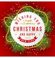 Christmas card on red background vector image