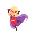 comic brave girl kid in superhero red costume with vector image