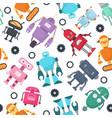 cute robots futuristic kids seamless vector image