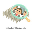 market research icon isometric 3d style vector image