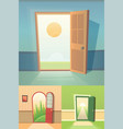 open door cartoon collection set of four vector image