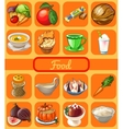 Set of 16 food and drink set vector image